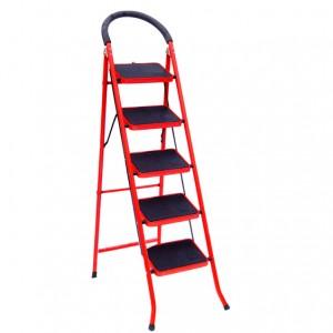 نردبان تاشو 5 پله قرمز رنگ سهند