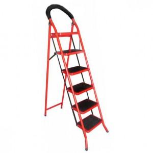 نردبان تاشو 6 پله قرمز رنگ سهند